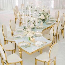 مطعم حديث وأثاث معدني حفلات الزفاف كرسي مستطيل تناول الطعام مقعد طاولة ومقعد أريكة يمكن تحويلها إلى سرير فردي مع مقعد مرتفع كرسي العرش الملكي