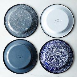 Weinlese-runder Tupfen-Kohlenstoff-richtet flache geteilte Porzellan emaillierte Metallroheisen-Abendessen-Seiten-Filterglocke Platten für Küche an