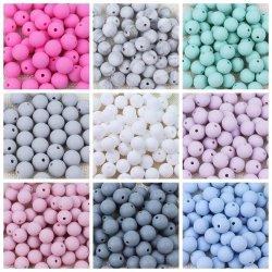 Perles de silicone sans BPA 9/12/15/19mm Anneau de dentition bébé perles rondes de dentition