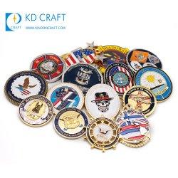 Medalla de Antiqu personalizado insignia de solapa Camilla Token el doble de 24K de plata de 3D de recuerdos de plástico de la Policía Militar de la Marina de metal de oro de la Moneda de desafío sin mínimo de para regalo promocional