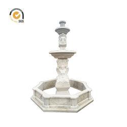Figura decorativa del giardino esterno che intaglia signora nuda di marmo bianca Fountain