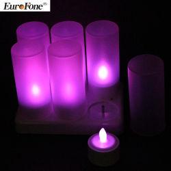 Jeu de 6 lueur pourpre Flameless Candle Rechargeable LED Tealight