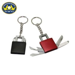 Fábrica de Ningbo fornecer 4 em 1 Forma de bloqueio Chaveiro Mini-Faca Fixa