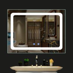 Anti specchio della nebbia del LED, specchio di vetro della parete LED della stanza da bagno di Fogless