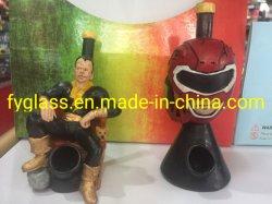 Tubo di acqua di fumo di vetro dell'uomo del ferro con materiale verde
