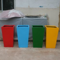 China satinado de alta calidad Maceta de fibra de vidrio decorativos para jardín