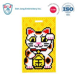 Cosido en el mosaico de Etiqueta de Equipaje/ ID Card Holder-Lucky cat.