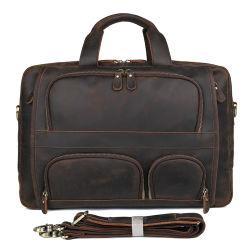 7289r de Crazy Horse resistente maletín de cuero marrón oscuro de la bolsa de negocios Bolsa Mens