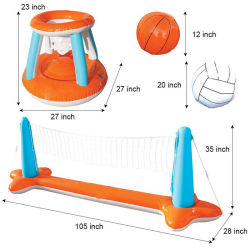 Stock에 있는 새로운 Inflatable Water Volleyball Stand Adult Water Toy Inflatable Basketball Rack Tennis Goal Sporting Goods
