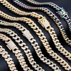 Le Hip Hop Femmes Hommes La corde de torsion en acier inoxydable Miami hors glacé plaqué or 18K freiner Diamond lien cubain collier de chaîne