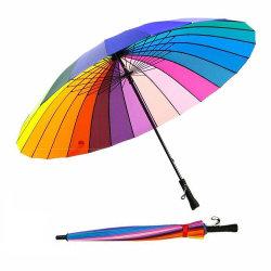 16/24의 늑골 색깔 무지개 선전용 선물을%s 수동 똑바른 일요일은 또는 비 형식 우산 또는 우산을 광고하거나 상표를 붙였다