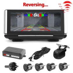 HD 1080P de 7 pulgadas de doble cámara cámara grabadora de coche con guión del Sensor de estacionamiento