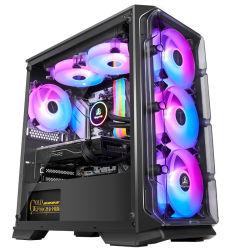 USB 3.0 및 8 * 12mm RGB 팬, 방진 네트, 아크릴 패널, HDD * 2 / HDD * 1 + SSD * 1 + SSD * 3 포함 블랙 Matx 마이크로 케이스, 게이밍 PC 케이스 컴퓨터 섀시