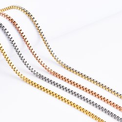 Caja de acero inoxidable chapado en oro Pulsera de cadena de la artesanía de diseño de moda joyas collar mayorista