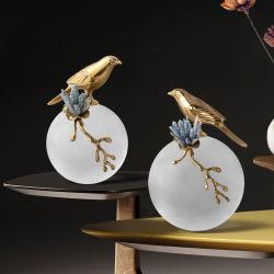 Accessori moderni minimalisti soggiorno Casa Arte Ottone Bird Designer Ornamenti decorazione artificiale Glam Crystal Flower Home decor