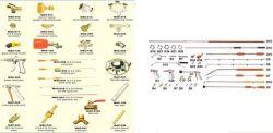 مرشة كهربائية، مرشة قدرة على المسدس، فوهة دائرية ذات قضيب دائري (مسدس رشاش مستقيم ذو قضيب مقاوم للصدأ)