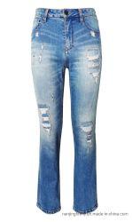 Trecho de algodão moda jeans Denim homens destruída a junção de decoração de calças (F051)