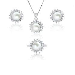 Silbernes Schmucksache-Set der Süßwasser-Perlen-Schmucksache-925