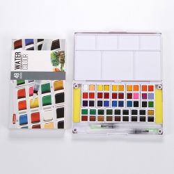 Conjunto de 36 cores Bolo de Pintura em aquarela com 2PC Fountain Pen Broxa embalada em caixa de PVC com pega para desenho em aquarela