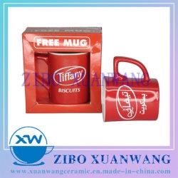 Rot glasierte quadratische Form Keramik Becher mit weißen Keks Marke Druck und Color Box Keramik Cup
