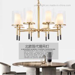 銅のペンダント灯現代的なデザインめっきLEDの金属ガラスのシャンデリア
