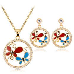 Design superior mulheres Jóias de casamento de Acessórios de Moda Brincos Butterfly Conjunto de jóias de ouro das mulheres