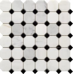 Decoração moda Building Material Branco e granito preto mosaicos de mármore