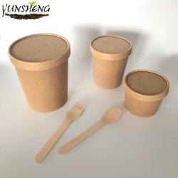 Упаковки для пищевых продуктов контейнер биоразлагаемых посуда десерт контейнер мороженое чашки с деревянной ложкой