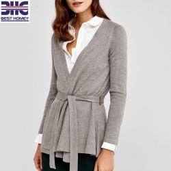 Pullover en tricot de femmes Cardigan Vestes Peplum avec la courroie de la mode pour dames