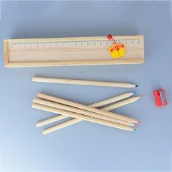 Papelaria escolar definir com o Afiador/Apagador e 7 Polegada 6 PCS em lápis de cor na caixa de madeira com brinquedos de madeira personalizada