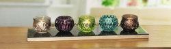 蝋燭ホールダー、ガラス蝋燭、木の皿