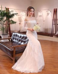 1 어깨 한국 섹시한 형식 여자 숙녀 결혼 예복