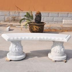 Handgeschnitzte Gartenbank aus weißem Marmor mit Granit (GSBH-505)
