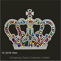 Les correctifs de la Couronne Garment Rhinestone Multi-Colored Rhinestone patchs correctifs de fer Hot-Fix motif strass pour vêtements