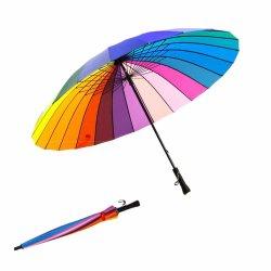 16/24 di Rainbow ombrello diritto manuale di modo pioggia/di Sun di colore delle nervature per promozionale/regali/fa pubblicità a/ombrello bollato