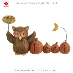 Embarcação de animal de resina Hoot Abóbora Owl Dom decoração de loja