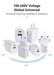 شحن سريع لشاحن USB مزدوج بقدرة 20 واط طراز PD QC 3.0 من الاتحاد الأوروبي مأخذ توصيل لجهاز iPhone X 8 Plus ملاحظة 9 10 12 مهايئ الهاتف المحمول Pro Max Power Delivery