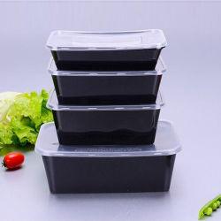 500ml 650ml 750ml, Redonda preta de plástico descartáveis comida gratuita recipiente com tampa