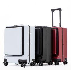 OEM アルミニウムフレーム旅行スーツケースUSBの充満トロリー荷物の箱