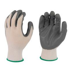 De nitril Met een laag bedekte 13G Handschoen van het Werk van de Veiligheid van de Weerstand van de Voering van de Polyester Industriële Chemische met Goedgekeurd Ce