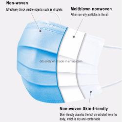Preiswerte blaue Wegwerfgesichtsmaske 3 Falte mit Earloops auf Lager