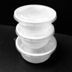صندوق غداء مستدير يمكن التخلص منه، وعاء غداء وعاء بلاستيكي لحاوية طعام