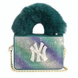 Saco de moda 2021 Rhinestone Borboleta Coberto Mini Bonitinha Meninas bolsa com alça superior Sacola grande de peles com pêlo