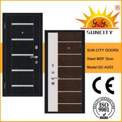 La puerta de la armadura de madera de acero con tiras de aluminio