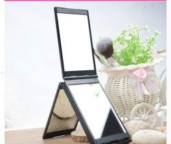 Barato 4 Painéis de plástico Quadrado Espelho Saco para as mulheres portátil Espelho de Bolsa