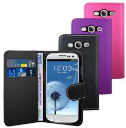 La mode en cuir de haute qualité livre couvercle de boîtier de portefeuille pour Samsung Galaxy S3 I9300
