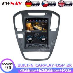 128 g de l'écran de Tesla pour 2008 2009 2010 2011 2012 2013 Buick Regal Android 9 Lecteur multimédia Navi GPS Auto Radio Unité de tête stéréo