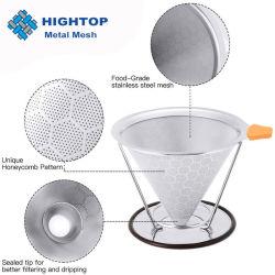 La mano de acero inoxidable filtro de café por goteo