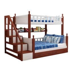 K1502 Hot популярных детей твердых сосновой двухъярусные кровати с душевой кабинкой лестницы, выдвижной ящик и полочные