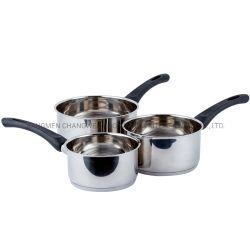 5PCSベークライトのハンドルが付いている環境に優しい台所用品のステンレス鋼ソース鍋